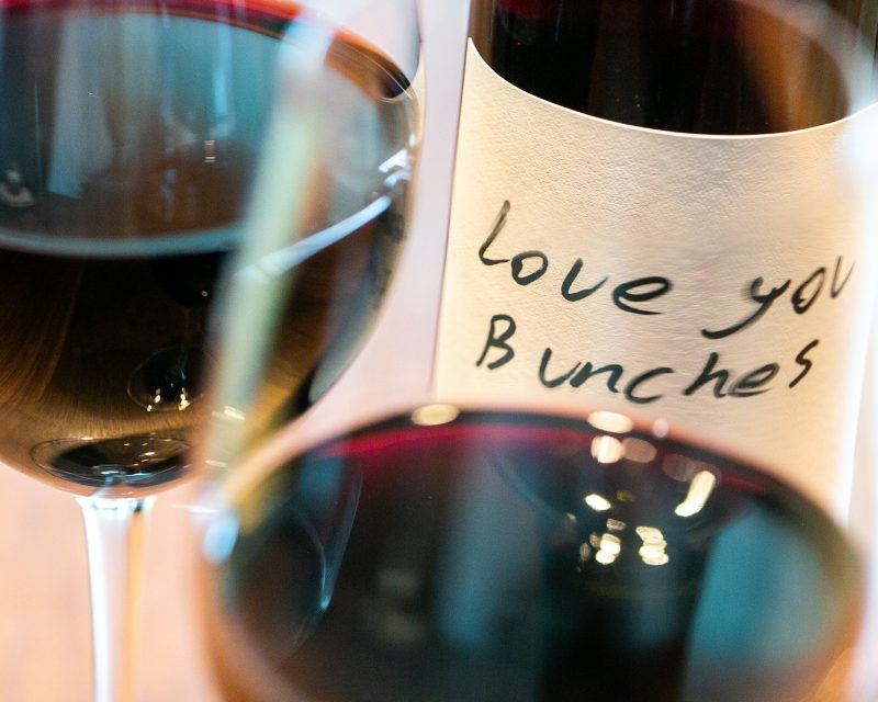 Love You Bunches Wine Bottle and glass