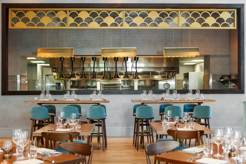 Private Dining at Bargello Restaurant in Downtown Asheville Hotel Arras open kitchen